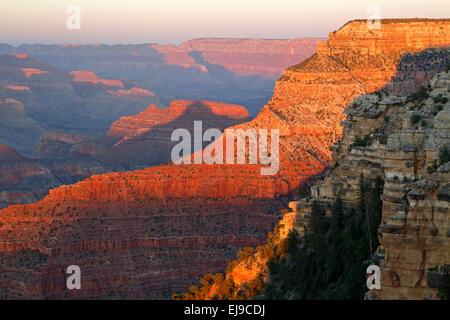Canyon rock formations from near Yavapai Point, Grand Canyon National Park, Arizona USA - Stock Photo