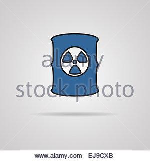 Radioactive waste barrel. - Stock Photo