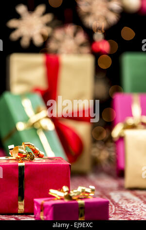 Xmas Gifts, Glitters and Stars - Stock Photo