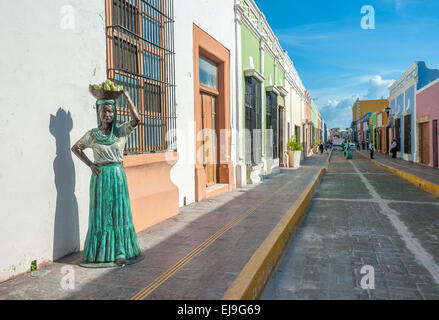 Streets of Campeche colonial town, Mexico - Stock Photo