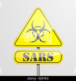 Yellow Sars Warning Sign - Stock Photo
