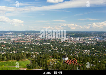 Panorama view of Oslo from Holmenkollen - Stock Photo