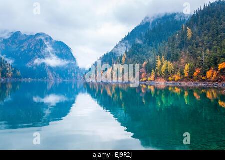 beautiful long lake in autumn jiuzhaigou - Stock Photo