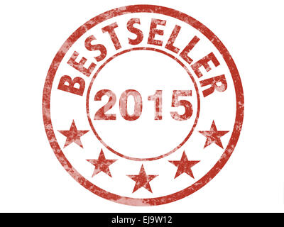 red grunge stamp with bestseller 2015 - Stock Photo