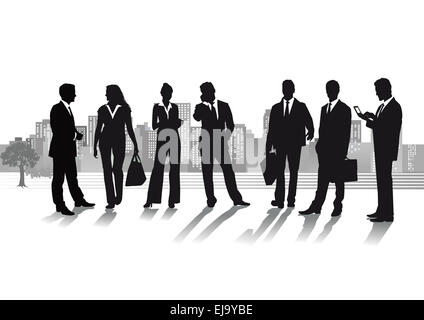 Group of business people with cityscape - Stock Photo