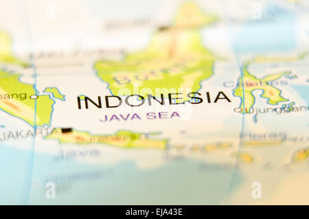 indonesia country on map - Stock Photo