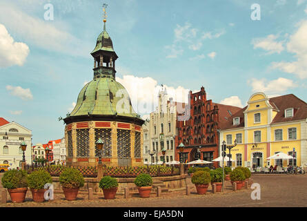 Market Place Hanseatic City of Wismar Germany - Stock Photo