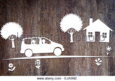 Concept of driving in a family car - Stock Photo