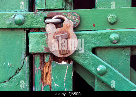 A padlock on a wooden painted green barn door. - Stock Photo