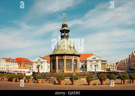 Market Place Hanseatic City Wismar Germany - Stock Photo