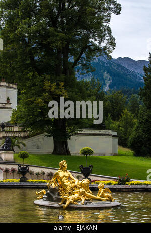 Flora and Puttos Fountain at Linderhof Palace, Etal Germany - Stock Photo