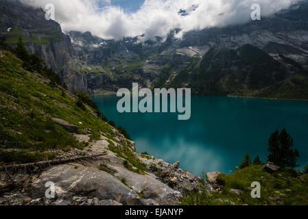 Oeschinensee - Swiss Alps - Switzerland - Stock Photo