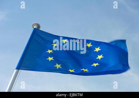 EUROPEAN UNION COUNCIL OF EUROPE  EU FLAG FLYING ON FLAGPOLE - Stock Photo