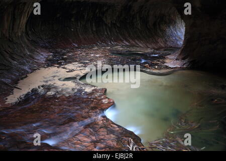 The Subway Slot Canyon in Zion National Park - Stock Photo