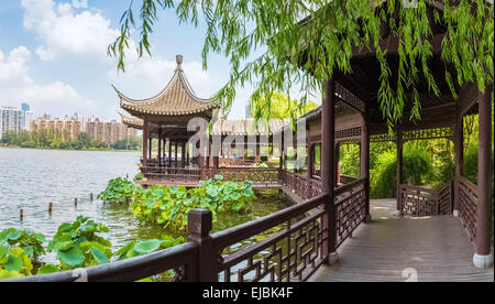 chinese traditional corridors in the lake - Stock Photo