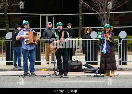 Irish folk band playing during the 2013 St. Patricks Day parade in Newark, New JErsey. USA. - Stock Photo