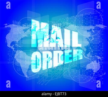 Mail order words on digital screen background with world map stock mail order words on digital screen background with world map stock photo gumiabroncs Choice Image