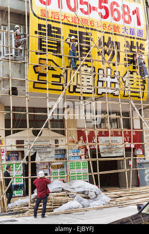 Bamboo scaffolding used in construction - Stock Photo