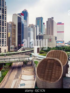 Hong Kong, Hong Kong SAR -November 12, 2014: Elevated view of the central business district of Hong Kong. - Stock Photo