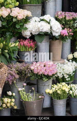 Spring flowers including lilacs, hydrangea, hyacinth, paperwhites, ranunculus and roses in zinc buckets at flower - Stock Photo