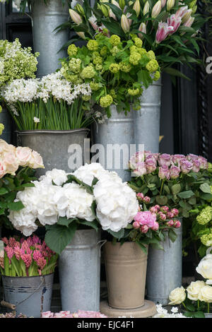 Spring flowers including lilacs, hydrangea, hyacinth, paperwhites, peonies and roses in zinc buckets at flower market, - Stock Photo