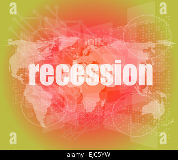 Business concept: words recession on business digital screen, 3d - Stock Photo
