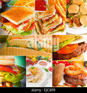 burgers and sandwiches collection on a collage - Stock Photo