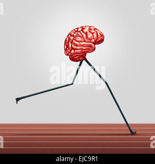 Fast brain and memory training concept as a human thinking organ with legs running on a track as a health care symbol - Stock Photo