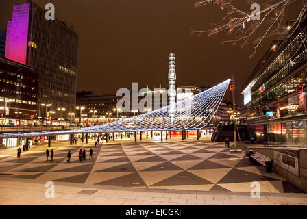 night view of Stockholm - Stock Photo