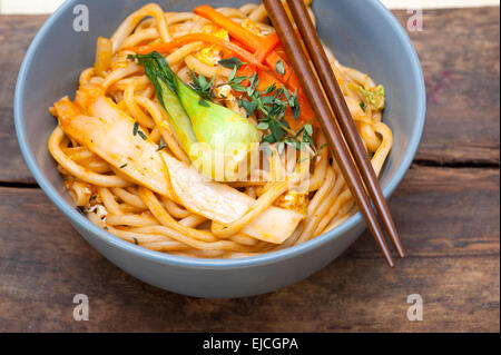 hand pulled ramen noodles - Stock Photo