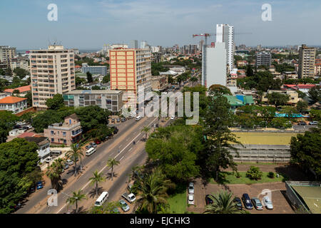Aerial view of downtown Maputo - Stock Photo