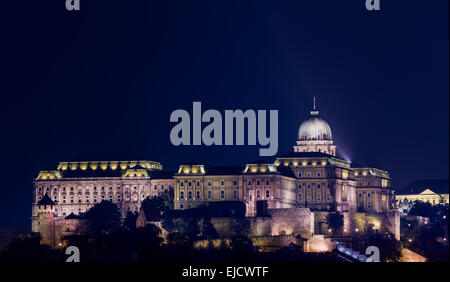 Buda Castle at night in Budapest - Stock Photo