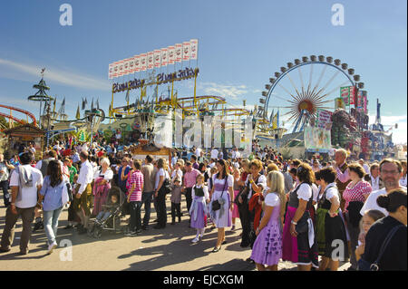 big wheel at Oktoberfest in Munich - Stock Photo