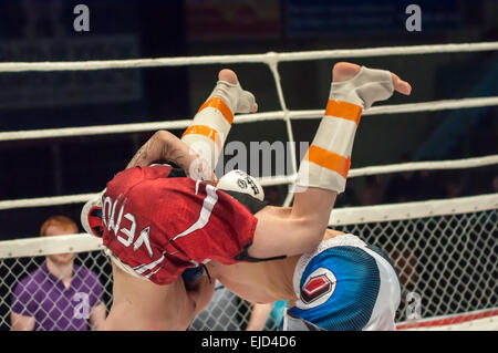 ORENBURG, ORENBURG region, RUSSIA - 21 February 2015: Match two MMA fighters on the open cup of Orenburg region - Stock Photo