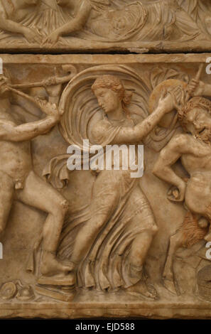 Roman art. Sarcophagus with Dionysian procession. Dancing maenad. Detail. Capitoline Museums. Rome. Italy. - Stock Photo