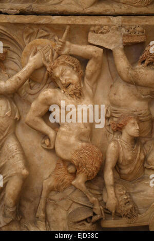 Roman art. Sarcophagus with Dionysian procession. Satyr. Detail. Capitoline Museums. Rome. Italy. - Stock Photo