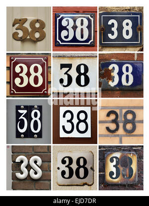 Numbers 38 - Collage of House Numbers Thirty-eight - Stock Photo