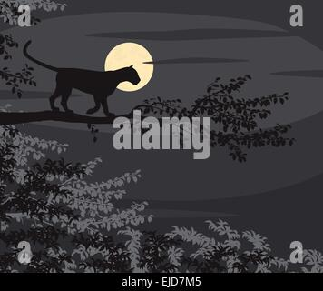 EPS8 editable vector cutout illustration of a leopard on a tree branch silhouetted against the moon at night - Stock Photo
