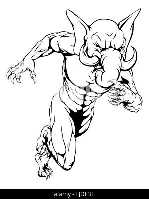 An elephant man character or sports mascot charging, sprinting or running - Stock Photo