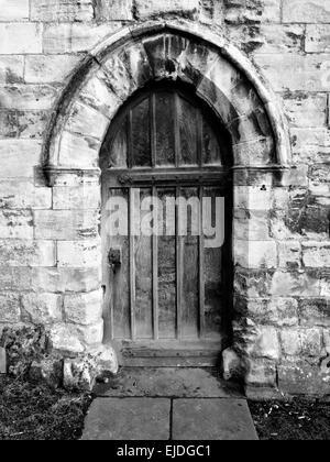 Doorway in the Ruin of St Leonards Hospital in Museum Gardens York North Yorkshire England - Stock Photo