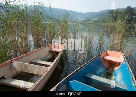 Two dingy boats on lake Bunyonyi. Uganda. - Stock Photo