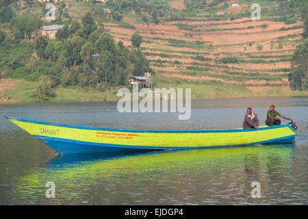 Boat landing at mainland. Lake bunyonyi. Uganda. - Stock Photo