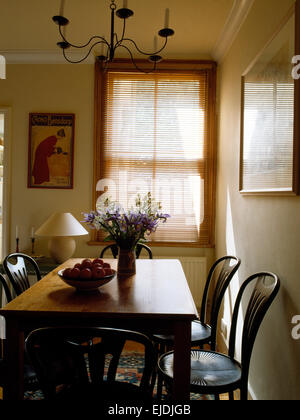 Antique Bentwood chairs at pine table in nineties dining room with  wooden Venetian blind on theAntique pine table and chairs in eighties dining room study with  . Antique Pine Dining Room Chairs. Home Design Ideas