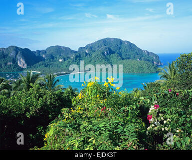 panoramic view of the island from the viewing point, Ko Phi Phi Don, Thailand - Stock Photo