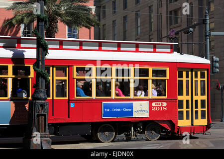 Streetcar on Canal Street, Central Business District, New Orleans, Louisiana, USA - Stock Photo