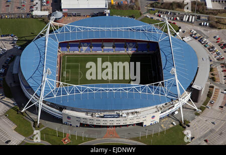 aerial view of Bolton Wanderers Macron football ground Stadium, formerly the Reebok Stadium - Stock Photo
