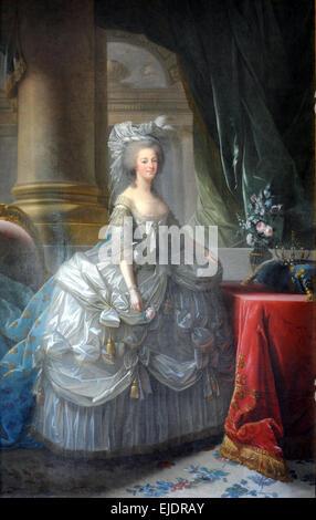 Queen Marie Antoinette in court dress - Stock Photo