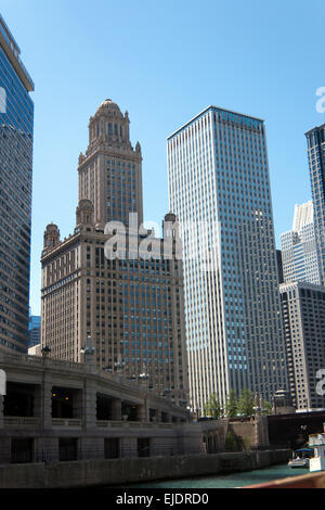 View of uptown Chicago taken in the Loop area, close to the Chicago River. - Stock Photo