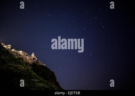 Stars in the sky above Santorini, Greece - Stock Photo