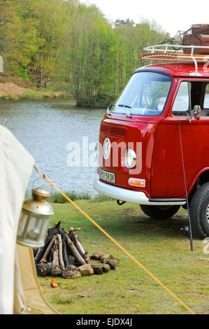 A Volkswagen Camper on a campsite in East Sussex UK. - Stock Photo